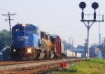 NS 6768 leads NS train 18M at CP Chillicothe on a hazy summer morning